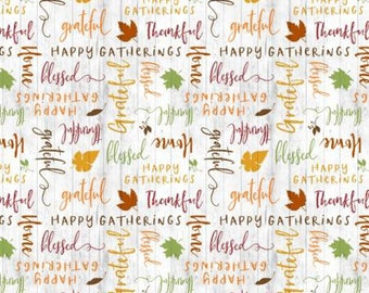 Wilmington Prints, Happy Gatherings - Thankful Words -  32054-178 by Lola Molina f