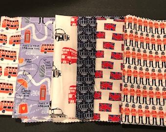 British Fabric  Half Yard Bundle - 6 Half Yards - Union Jack Fabric - London