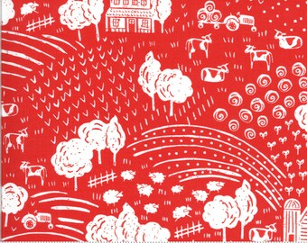End of Bolt exactly 1 3/4 Yards - On The Farm  - 2070316 - Moda - The Heartland Red  By Stacy Iest Hsu