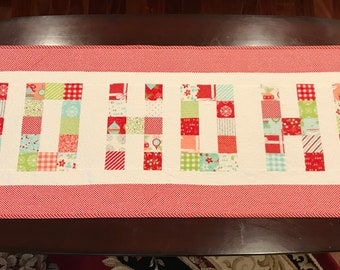 Homemade -  Ho Ho Ho Christmas Table Runner Using Vintage Holiday Fabric