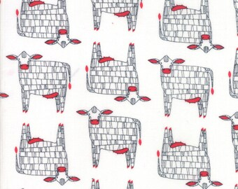 End of Bolt 3/4 Yard Farm Fresh - by Gingiber for Moda - 48261 11 - 4826111 - Moo White