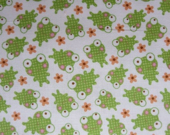 Riley Blake - Sweet Baby Girl - Frogs White By Doodlebug Designs - 7.99 a yard