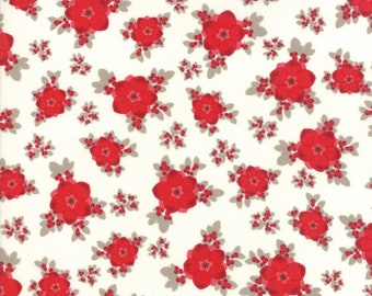 Return to Winter's Lane Moda Fabric Christmas Kate & Birdie red snow floral 13170-12