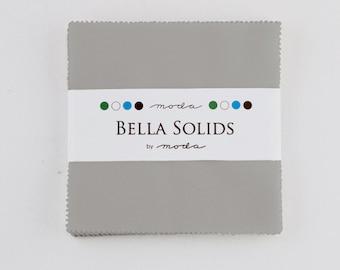 Bella Solids Charm Pack Silver 9900PP 183 Moda Precuts