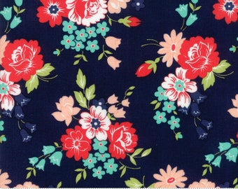 Bonnie Camille Smitten Fabric -  Floral Dark Blue - Bouquet Navy 55171 15 - Last Piece 35 inches