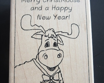"Merry Christmoose - Inky Antics Mounted Rubber Stamp 2.5""X3.25"""