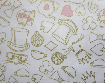Wonderland 2 Tea Party White Sparkle Fabric -Riley Blake SC5774