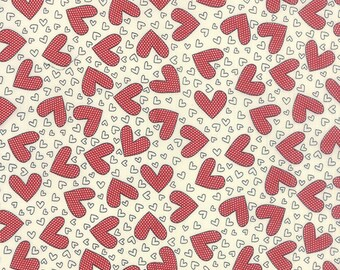 """End Of Bolt 1 yard 3"""" Moda -First Crush Fabric - 5601 11 - Sweetwater Seasonal Valentines Heartthrob Natural"""