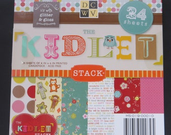 "DCWV Paper Pad - The Kidlet - 6""x 6"" - 24 Sheets - 1/2 With Glitter & Gloss"