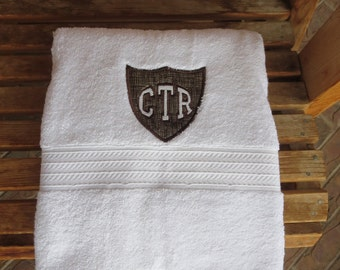 CTR Applique Towel  - Brown Hash Fabric