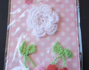 Sew Together Crocheted Flower and 2 Cherries