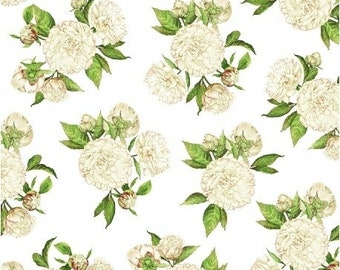 LOVE LETTERS by Shannon Christensen for Windham Fabric 51415-5 White Peonies