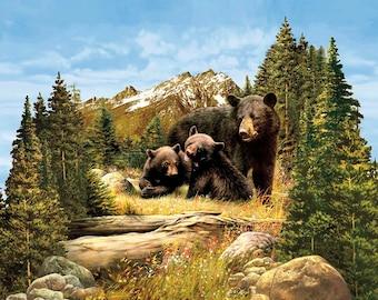 Riley Blake - Majestic Bear Panel - PD5570-BEAR - PLEASE NOTE : Panel is digitally printed