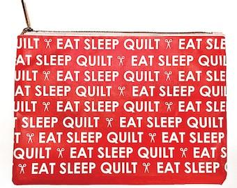 Moda Accessory Bag - Eat Sleep Quilt OR Measure Twice Cut Once Vinyl Bag