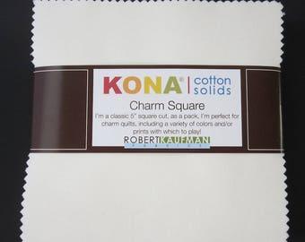 """Kona 5"""" Charm Squares - CHS11942 - 42 Pieces - Robert Kaufman - Snow"""