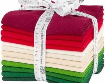 Fat Quarter Kona Cotton Christmas Holiday Palette, 12pcs/bundle