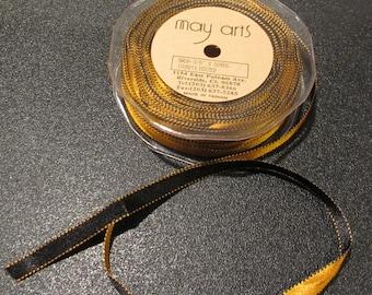 "May Arts - 3/8"" x 5yards  - Satin/ Reversible/Stitch Edge Ribbon (Halloween Colors)"
