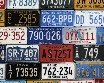 Multi License Plates - C2450-MLT - From Timeless Treasures Route 66