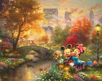 Disney Dreams Mickey & Minnie Central Park 36in Panel  DS20249C1