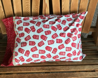 Pillowcase - CHristmas Themed Pillowcase / Gift - Using Out Of Print Fabric - Made With Out Of Print Fabric
