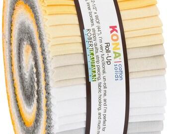 2-1/2in Strips Kona Cotton Sunny Side Up Palette, 40pcs/bundle - RU-777-40