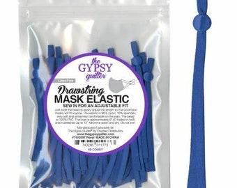 Royal blue - Drawstring Mask Elastic 60 pieces to fit 30 Masks