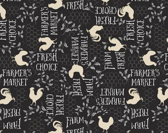 Wilmington Prints, Free Range Fresh by Katie Pertiet, 16513 921 Black Words Chicken