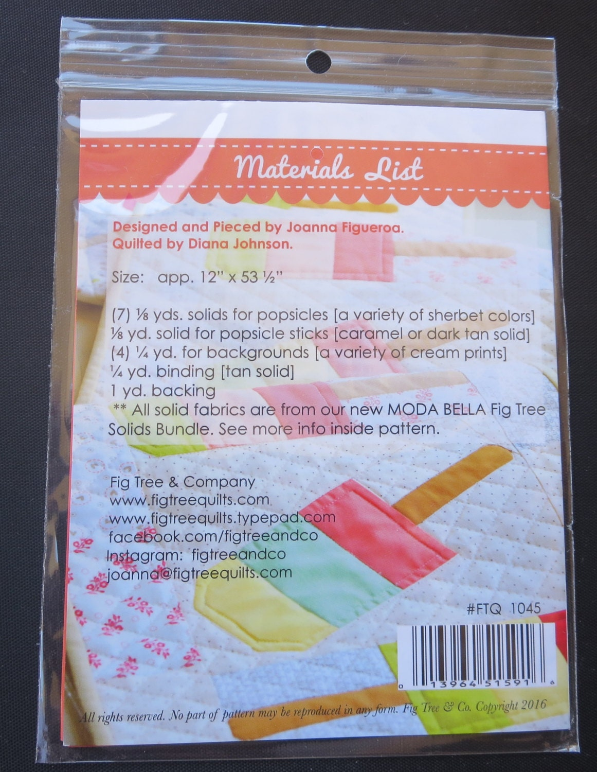 Mini Popsicles Ft 1045 Fig Fig Tree Co Quilt Pattern