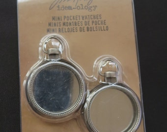 "Tim Holtz Idea-Ology Mini Pocket Watch Frames 1""  - 2 Pack - TH93274"