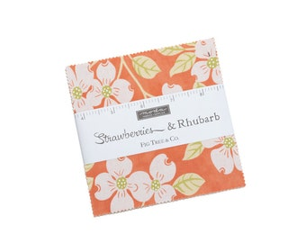 In Stock - Fig Tree Fabric - Strawberries &  Rhubarb Charm Pack