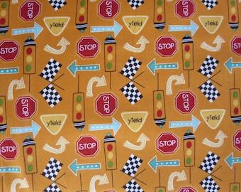 Riley Blake - On Our Way Fabric - Orange  Way Signs C4122