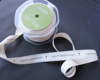 "May Arts Ivory and Black 3/4"" Canvas Print Ribbon - Happy Birthday 30 Yard Spool"