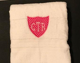 CTR White Towel - Pink  Applique