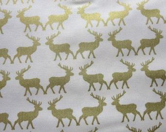 Postcards for Santa Gold Sparkle Deer Fabric - Riley Blake
