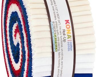 2-1/2in Strips Kona Cotton Patriotic Holiday Palette, 40 pcs/bundle