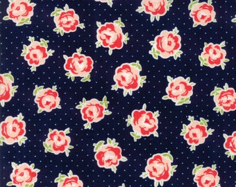 End of Bolt 1 26 Inches - Bonnie Camille Smitten Fabric -  Floral Dark Blue - Lovely Navy - 5517715