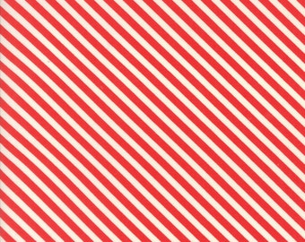 Bonnie Camille - Handmade - Bonnie Camille Floral Candy Stripe Red  - 55145 11 - End Of Bolt 1.5 yards
