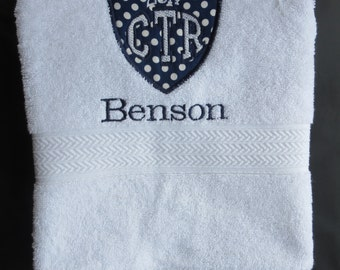 Personalized CTR White Towel With Navy Polka Dot Applique 2018