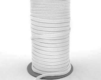 1/4 Inch (6MM) Flat White Elastic - Feels Softer Than Most Elastics - 109 Yards