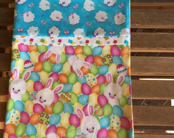 Novelty Themed Pillowcase - Easter Eggs Rabbits and Sheep