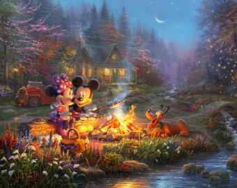 Disney Dreams Mickey & Minnie Sweetheart Campfire 36in Panel # DS20529C1