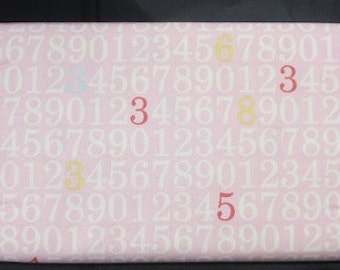 7.50 A Yard! Vintage Baby Pink Number Fabric - Riley Blake