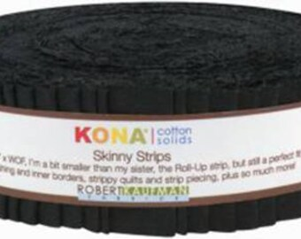 Skinny Strips Kona Solids Black Colorway 40pcs 1 1/2in  - SS-101-40