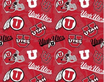 Utes College Prints - NCAA Utah Tone on Tone Cotton  UTA-1178