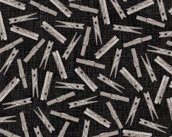 Studio E Charcoal Clothes Pegs 4885S-99 - I Spy Quilt Fabric
