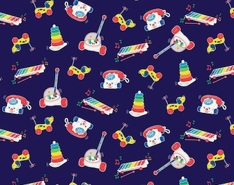 End of Bolt 3/4 Yard - Riley Blake - Fisher-Price Toys Navy C9762 - Fabric - I Spy Fabric - Official licensed product