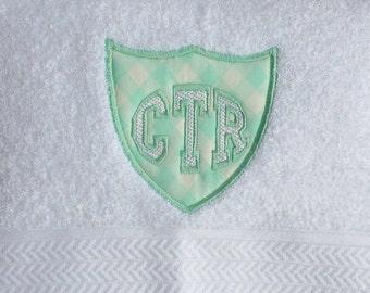 CTR White Towel - Aqua Gingham Applique