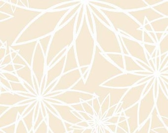 Cream Star Flower 108in Wide Back  QB104-E - Beautiful Backing by Maywood Studio Collection