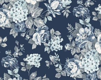 Wide Back Tranquility Floral Navy 107 / 108 Wide