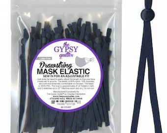 Navy - Drawstring Mask Elastic 60 pieces to fit 30 Masks